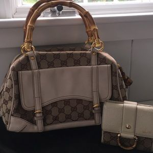 Gucci bamboo purse and matching wallet.